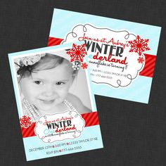 Beautiful Winter Wonderland Invitation - With or without photo. $12.99, via Etsy.
