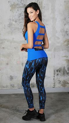 Blue Black Leggings The print on these Blue & Black Leggings is modern and stylish. With Equilibrium Active Wear, you will always be in fashion and looking your best. #leggings #equilibrium #blueandblack