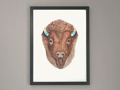 Bison Illustration / Geometric Patterns / Party by ScoutandWhistle, $32.00