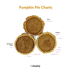We baked three pumpkin pies from scratch, then visualized the nutritional information for all ingredients. Each pie chart shows you a different aspect