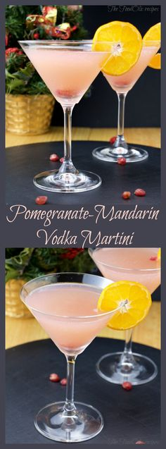 Holidays Martini cocktail made with a homemade grenadine syrup (pomegranate + mandarin), vodka and sparkling water for a festive version of a vodka martini. Vodka Mixed Drinks, Easy Mixed Drinks, Fruity Drinks, Yummy Drinks, Summer Beverages, Fun Drinks, Vodka Recipes, Martini Recipes, Alcohol Drink Recipes