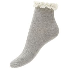 Grey Cable Knit Frill Trim Socks ($4.49) ❤ liked on Polyvore featuring intimates, hosiery, socks, accessories, warm grey, ruffle socks, chunky cable knit socks, frilly socks, gray socks and grey socks
