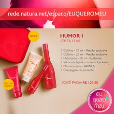 #Presente #Natura #Humor 1 - #Desodorante #Colônia - 75ml e 25ml + #Hidratante + #Sabonete + #Mininécessaire + #Embalagem - por R$ 126,50  Clique aqui > http://goo.gl/9eXU2W  Frete Grátis acima de R$: 99,00 e Parcele em até 6x sem juros!