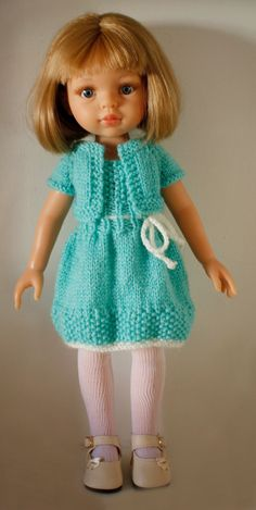ccommeceline: Robe et Boléro Turquoise                                                                                                                                                                                 Plus Crochet Doll Clothes, Knitted Dolls, Doll Clothes Patterns, Clothing Patterns, Blythe Dolls, Girl Dolls, Baby Dolls, Cherie Coco, Crochet Art