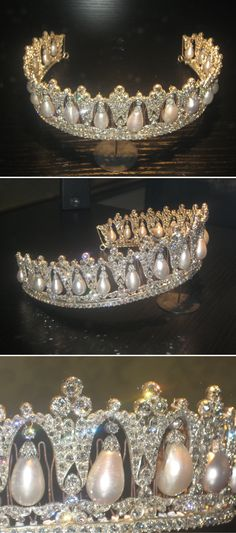 Pearl Poire Tiara. Made in Berlin in 1825. Queen Louise of Denmark left it to the Danish Royal Property Trust 1926