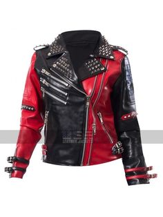 8b0bc893160 Heartless Asylum Harley Quinn Studded Red and Black Costume Biker Leather  Jacket