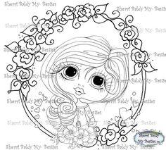 INSTANT DOWNLOAD Digital Digi Stamps Big Eye Big Head Dolls  Hearts Bestie My Besties By Sherri Baldy