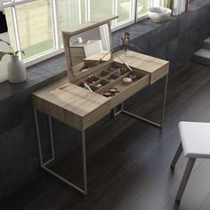 A FEMININE SPACE A table, a console, a dressing table, a hidding place for your personal items. Visit our website or one of our showrooms for more details. Bedroom Furniture Design, House Interior, Home Room Design, Room Makeover, Bedroom Interior, Home, Dressing Room Design, Home Decor, Furniture Design