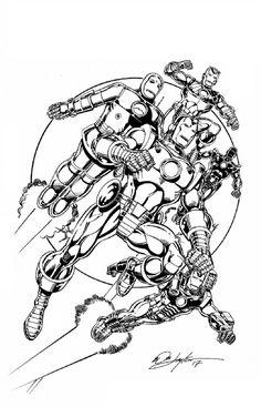 Many Armors of Iron Man 2017 Comic Art