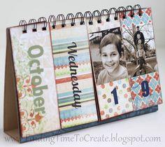 A thoughtful handmade gift! Perpetual Flip Calendar with tutorial. Flip Calendar, Photo Calendar, Desk Calendars, Mini Scrapbook Albums, Mini Albums, Craft Gifts, Diy Gifts, Diy Calendario, Mini Books