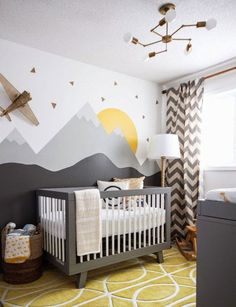Baby Nursery: Easy and Cozy Baby Room Ideas for Girl and Boys an excellent example of a gender neutral nursery, in grays, yellows and whites. Modern, comfortable and still a very stylish nursery!