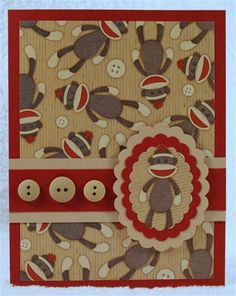 Sock Monkey Card (I have this Hobby Lobby paper, YAY! Sock Monkey Baby, Sock Monkey Birthday, Baby Cards, Kids Cards, Cute Cards, Cards Diy, Punch Art, Scrapbook Cards, Homemade Cards