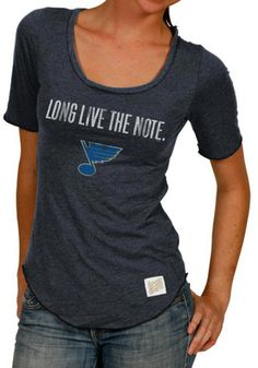 Original Retro Brand STL Blues Womens Long Live the Note Navy Blue Scoop T-Shirt