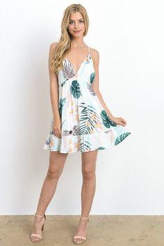 4f03b5da5d69 Tropical Leaf Printed Mini Cami Dress