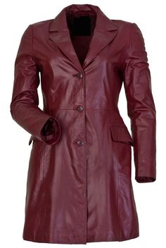 VANESSA WOMENS RED LEATHER OVERCOATS NOW ONLY FOR £146.00–£161.00 BY UK LEATHER FACTORY