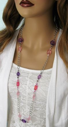 Long Purple Beaded Necklace, Long Pink Beaded Necklace, Purple Beaded Necklace, Chunky Pink Beads, Pink Beaded, Purple Beaded, Long Necklace