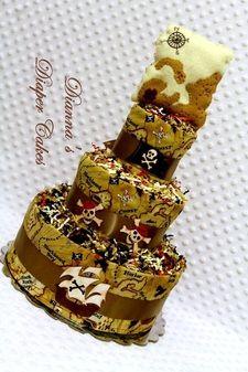 Pirate Treasure Map Rattle Baby Diaper Cake Shower Gift or Centerpiece Newborn Present www.diannasdiapercakes.com