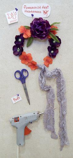 DIY: flower, fest, summer, hippie headdress/headband inspired by Free People