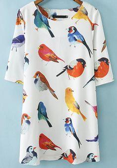 White Half Sleeve Birds pattern Random  Loose Dress XL
