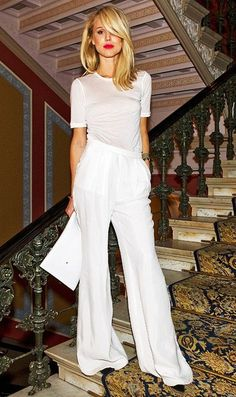 Elin Kling in a white minimal tee & wide-leg pants