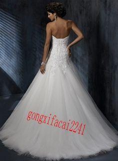 2013 Weiß Lang Günstig Organza Brautkleid Hochzeitskleid Gr.32/34/36/38/40/42+++   eBay
