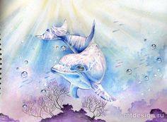 Как нарисовать дельфина акварельными карандашами