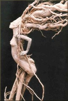 """Finding spirited presences in trees has long been part of woodland myth and folkore world wide. Here are other """"tree people"""" images by some of my favorite mythic artists: Illustrations by Arthur Rackham From """"The Land of Froud"""" by Brian. Wood Sculpture, Sculptures, Tree People, Tree Carving, Driftwood Art, Green Man, Pics Art, Art Plastique, Tree Art"""