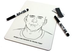 Nicolas Cage Hairstyle Whiteboard, Draw Him a New Hairdo with a Dry Erase Marker