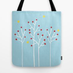 Simple Trees white blue Tote Bag by Floating Lemons
