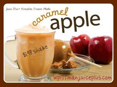 Post Workout Smoothie ~ 1 scoop Juice Plus+ Complete Vanilla, 1 cup Almond Milk, 1/2 tsp McCormick Apple Pie Spice, 1 tsp Sugar Free Caramel Syrup, 6 ice cubes. www.wpittmanjuiceplus.com #caramel #apple #smoothie #proteinshake #juiceplus