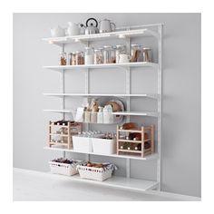 IKEA - ALGOT, Wandrail/plank/mand, De onderdelen van de ALGOT serie kunnen op diverse manieren worden gecombineerd en zijn daardoor eenvoudig aan te passen aan de behoefte en de ruimte.Je klikt de consoles in de ALGOT wandrails op een plek waar je een plank of accessoire wilt bevestigen - geen gereedschap nodig.Ook te gebruiken in de badkamer en andere vochtige ruimtes binnen.