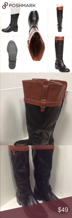 NIB 2-Tone Tall boots Stacked heel & buckle  Two-Tone Tall boots! Crafted with a stacked heel and buckle detailing.  1.5-in. heel  Rich Caramel & Black to match nearly every outfit! Polyurethane Shoes