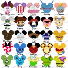 CHOOSE YOUR MOUSE HEAD CHARACTERS Disney Family Vacation digital clip art 1-8 characters :: My Heart Has Ears