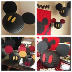 The back drops to each table were so simple and easy to create as well. All you need is foam boards, material, tacks, ribbon and scrap book paper. I created several Mickey banners with using scrap book and card stock paper. I made different size Mickey's with black card stock and assembled everything onto the back drop. You can use this back drop idea with any kind of theme for your next party.