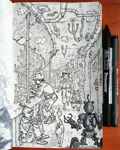 Daniele Turturici is a concept artist, illustrator, and cartoonist from Italy. He likes to draw science fiction, action scenes, and fantasy backgrounds. Ink Pen Drawings, Cool Drawings, Drawing Sketches, Drawing Ideas, Photography Illustration, Fantasy Illustration, Traditional Artwork, Pen Sketch, Pen Art