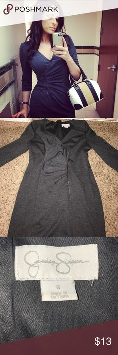 Jessica Simpson 3/4 sleeve grey dress Very pretty work dress. Has a zipper in front. Very slimming. Used. In great condition. Jessica Simpson Dresses Long Sleeve