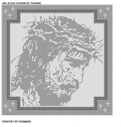 Jesus Crown of Thorns Filet Crochet Doily Wallhanging Pattern 445 | CROCHETBYDASMADE - Patterns on ArtFire
