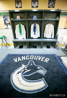this Vancouver Canucks Locker Room was build by the bride and groom in their basement so the groomsmen could get ready for the wedding like true NHL pros .... read more about this Hockey Themed Wedding at SportsThemedBride.com  #hockeywedding