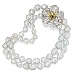 18 Karat White Gold, Baroque Cultured Pearl, Diamond and Yellow Sapphire Necklace, Michele della Valle | Lot | Sotheby's