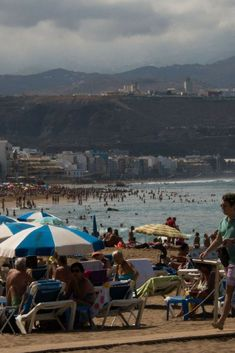 Postcards from Star Flyer (Cruise) - Crowds on the beach in Las Palmas — so NOT my thing. Not a place I'd return. Photograph, Ann Fisher. #anncavittfisher #travel #travelblogger