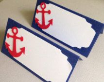 12 Nautical anchor Place card . Food labels . Food tents . Baby shower decor . Birthday decor . Under the sea theme . Anchor food labels