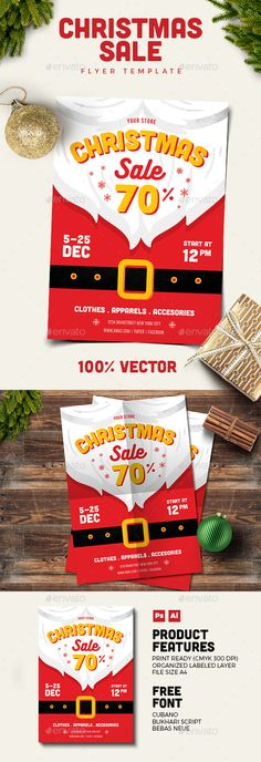 Christmas Sale Flyer Template PSD, AI Illustrator