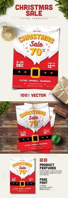 Christmas Sale Flyer Template PSD, AI Illustrator