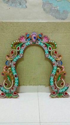Ganesh dec. Ganapati Decoration, Decoration For Ganpati, Arch Decoration, Background Decoration, Diwali Decorations, Festival Decorations, Flower Decorations, Stage Decorations, Indian Inspired Decor