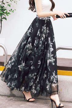 Iyasson Women Boho Printed Chiffon Maxi SkirtProduct Code : waist -Boho print-Maxi lengthMaterial: Polyester+ChiffonSize: M: Length Waist Length Waist Length Waist Noted: dimensions Long Skirt Fashion, Frock Fashion, Indian Fashion Dresses, Girls Fashion Clothes, Fashion Outfits, Cute Dresses, Casual Dresses, Long Chiffon Skirt, Long Skirts For Women