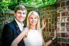 Engaged couple standing by red brick wall for outdoor engagement photos - Photo by Relive Photography by Laura Parent Outdoor Engagement Photos, Engagement Couple, Engagement Pictures, Engagement Shoots, Engagement Photography, Mr Mrs, Brick Wall, Getting Married, Photographs