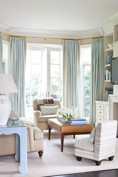 Bay window Curtains and pole. House of Turquoise: Anne Hepfer Designs Drapes And Blinds, Bay Window Curtains, Blue Drapes, Aqua Curtains, Drapery Panels, Long Curtains, Turquoise Curtains, Room Window, Duck Egg Blue Living Room Curtains