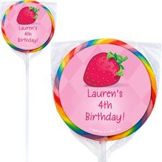 Strawberry Friends Personalized Lollipops - Personalized Lollipops & Party Supplies