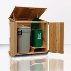 I like this idea for storying your garbage and recycling bins. Might be a good project for woodshop glass in high school. Backyard Projects, Outdoor Projects, Home Projects, Outdoor Decor, Outdoor Fun, Outdoor Storage Sheds, Shed Storage, Storage Bins, Recycling Bin Storage