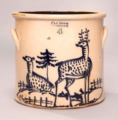 Sotheby's IMPORTANT AMERICANA 1/23-25/15 lot 839. IMPORTANT FOUR GALLON STONEWARE CROCK WITH COBALT BLUE DECORATION OF A SEATED DEER WITH A STANDING STAG, J. & E. NORTON, BENNINGTON, VERMONT, CIRCA 1855. Height 11 3/4 in. by Diameter 12 1/2 in. Estimate  40,000 — 60,000  USD. Passed.   Please note extensive spiders through decoration.